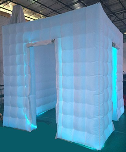 Price comparison product image Stagerbooth® Inflatable Portable Photo Booth Enclosure with 16 Colors LED Changing Lights and Inner Air Blower for Weddings Parties Promotions Advertising (one door)