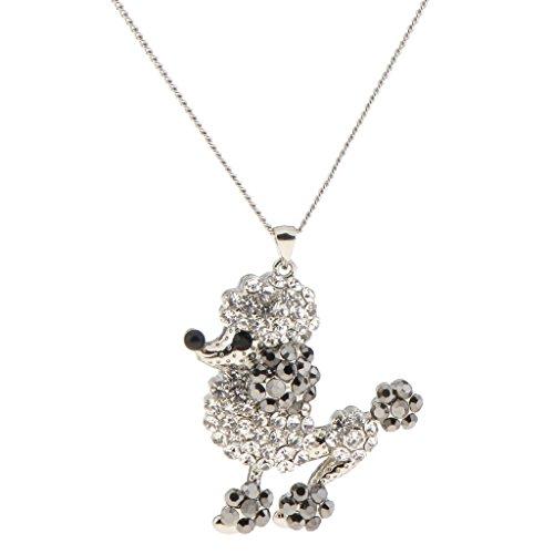 Homyl Puppy Poodle Dog Copper Charm Pendant Necklace Platinum Black Gold Chain Necklace - Platinum and (Black Poodle Charm)