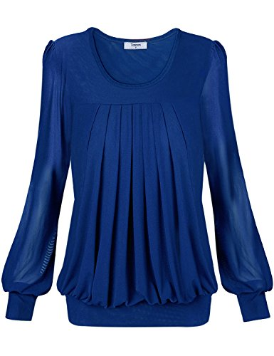 Tee Womens,Timeson Womens Sexy Pullover Long Sleeve Boat Neck Drape Front Embellished Tee XX-Large Blue