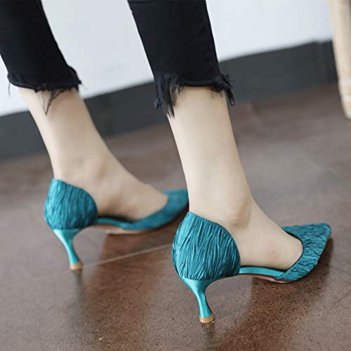 spring single and YMFIE pointed shoes hollow fashion mouth shallow autumn shoes Fine ladies with heels EU high 37 qtrw0Yt
