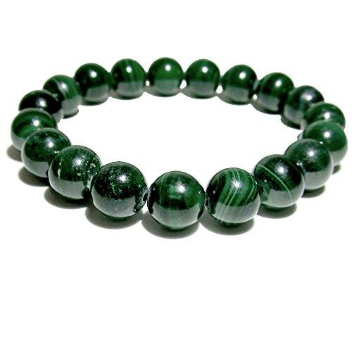Satin Crystals Malachite Bracelet 9mm Boutique Genuine Banded Green Gemstone Round Stretch Handmade B02 (5.75) (Green Goddess Bracelet)