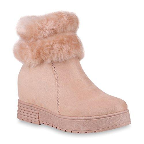 Stiefelparadies Damen Sneaker Wedges Gefütterte Schuhe Plateau Sneakers Zipper Flandell Rosa Camiri