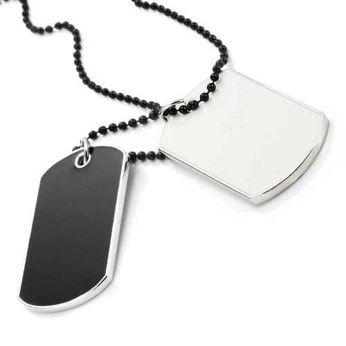 Urban Jewelry Army Style 2pcs Dog Tag Pendant Mens Necklace Chain (Gift Box)