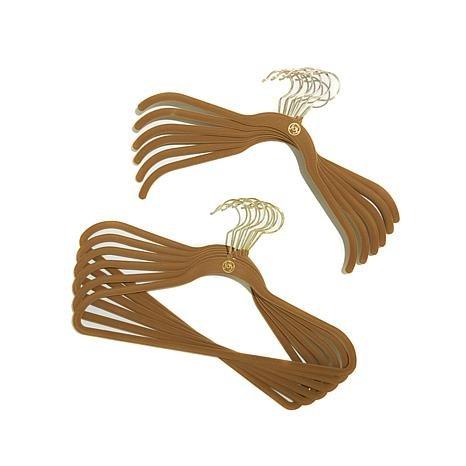 JOY Mangano 100-piece Huggable Hangers Set, Rich Camel with Brass by Joy Mangano (Image #2)