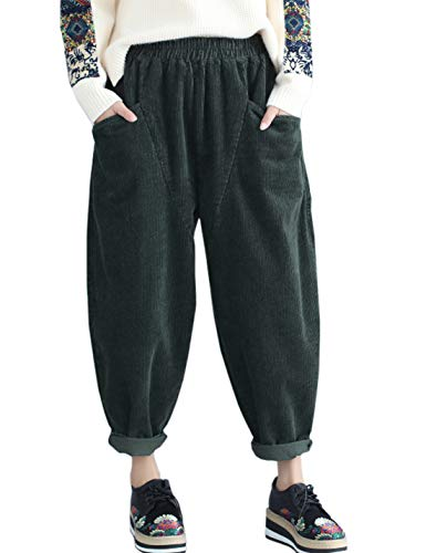 (Flygo Women's Vintage Thick Corduroy Elastic Waist Casual Loose Harem Pants Trousers (Large, Style 02 Green))