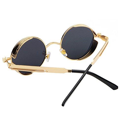 Eyewear Gris Retro para Mujeres glasses Dorado Sunglasses Espejo Yefree Hombres Sun Metal Goggles Vintage Circle Oqzw417n