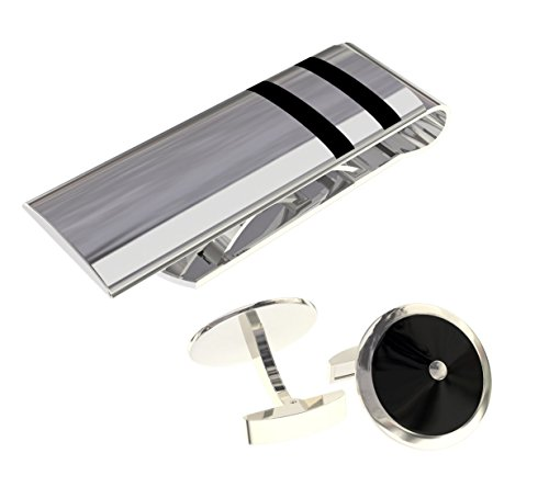 (Men's Money Clip & Stainless Steel Round Cuff Links COMBO - a Great GIFT)