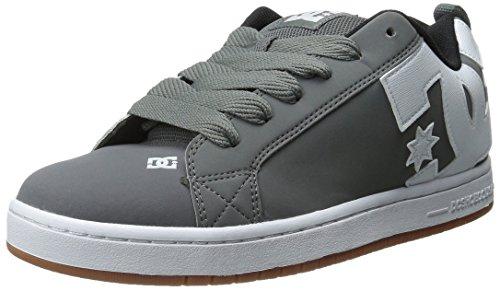 DC Men's Court Graffik Skate Shoe, Grey/White/Grey, 6 M US
