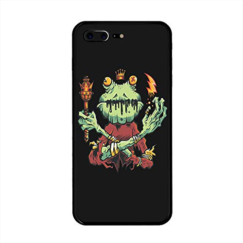 The Mass Plus iPhone 8 Plus Case, iPhone 7 Plus Case, Tempered Glass Case with Custom Designs Back and Shockproof Bumper Cover for iPhone 7/8 Plus (Frog King) ()