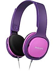 Philips Barnhörlurar SHK2000PK/00 barnhörlurar On Ear (ljudisolering, volymbegränsning, ergonomisk bygel, 32 mm neodym högtalare) Rosa/lila