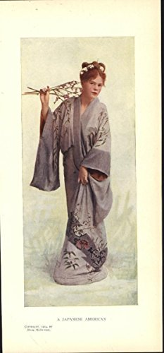 A Japanese American Kimono Costume 1904 antique color photo print