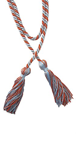 Three-Color Braided Honor Graduation Cords (Orange/Light Blue/Silver-Mixed Tassel)