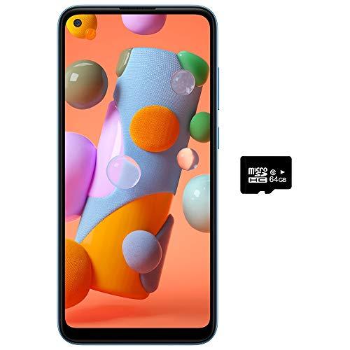 Samsung Galaxy A11 (32GB, 2GB) 6.4″ Dual SIM GSM Unlocked, Global 4G LTE International Model (T-Mobile,AT&T,Metro,Cricket) A115M/DS (64GB SD Bundle, Blue)