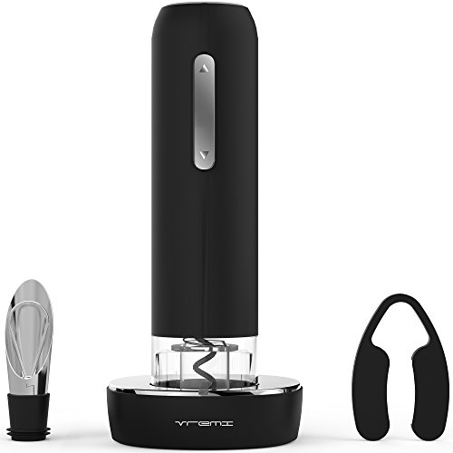Vremi Electric Wine Opener Set with Pourer and Foil Cutter - Automatic Corkscrew Wine Bottle Opener includes Countertop Charging Stand - Premium Accessories Gifts for Wine Lovers