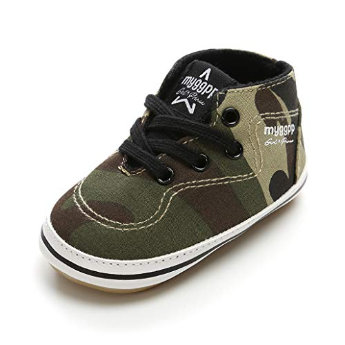 RVROVIC Baby Boys Girls Shoes Canvas Toddler Sneakers Anti-Slip Infant First Walkers 0-18 Months (12cm (6-12months), 6-Army Green) -