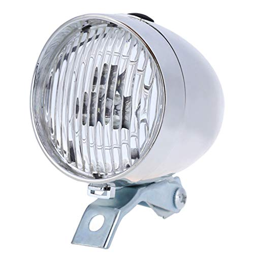 MA87 Classic LED Vintage Bike Headlight Bicycle Retro Head Light Front Fog Lamp (Silver)