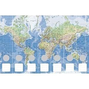 Lomo de archivadores Mapa del Mundo físicamente 7piezas azul/verde