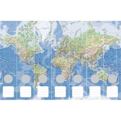 Cedon Raccoglitori Mappa del Mondo Fisico 7Pezzi, Colore: Blu/Verde