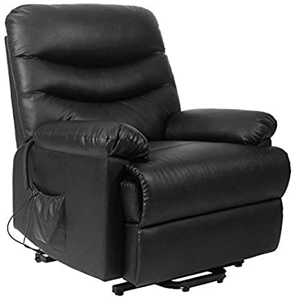 Merax Power Recliner And Lift Chair In Black PU Leather Lift Recliner Chair,  Heavy Duty
