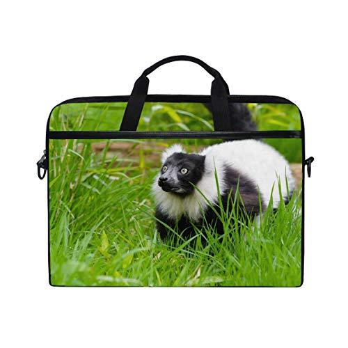 (Maxm Blackandwhite Ruffed Lemur Lemur Grass Laptop Shoulder Messenger Bag Case Sleeve for 14 Inch to 15.6 Inch with Adjustable Notebook Shoulder Strap)