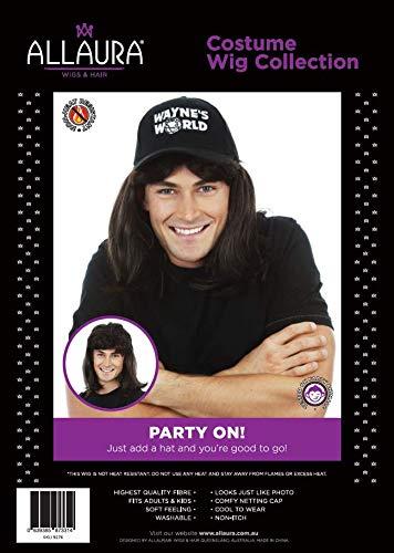 6e4617fd3066e Amazon.com  Waynes World Wig with Hat – Wayne Campbell Hair Cap - Black  Mullet Wigs Men 80s  Clothing