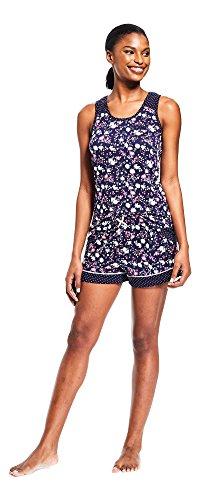 Pajamas Print Charm - Kathy Ireland Womens 2 Piece Set Scoop Neck Tank Top Shorts Floral Print Pajamas Blue Steel Medium