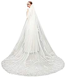 EllieHouse Women's 1 Tier Cathedral Sequin Lace Wedding Bridal Veil With Comb L81