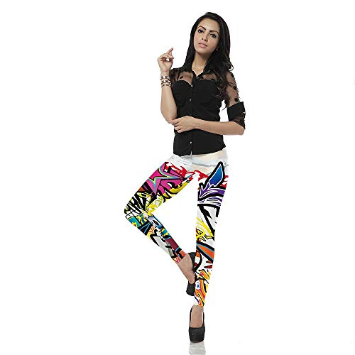 HUBINGRONG for Woman Fashion 3D Digital Printing Yoga Pants Casual Belt Buckle Pattern Fitness Abstract Painting Asymmetry Graffiti Pants Colorful Slim Outdoor Sports (Color : Colorful, Size : S) (Abstract Belt Buckle)