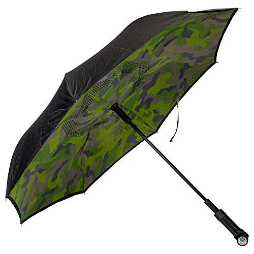Camo Black Revers-A-Brella Portable No Drip Inverted Auto Open Lighted Handle Umbrella