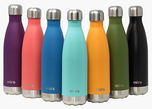 MIRA Stainless Steel Vacuum Insulated Water Bottle | Leak-Proof Double Walled Cola Shape Bottle | Keeps Drinks Cold for 24 Hours & Hot for 12 Hours (Teal, 12 oz (350 ml, 0.37 qt))