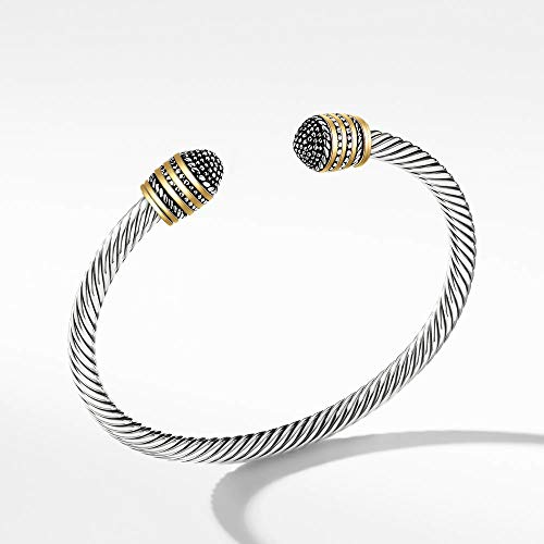 Mytys Bracelet Designer 2-Tone Silver Bracelets Gold Cable Wire Bangle Stainless Steel Cuff for Unisex Free Size (Silver Plating)