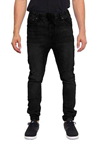 G-Style USA Mens Drop Crotch Jogger Denim Pants - BLACK - 4X-Large - Black Jean Style Pant