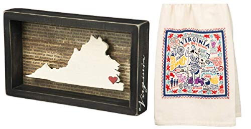 Primitives by Kathy 2 Piece State of Virginia Home Decor Bundle, Dish Towel and Box Sign