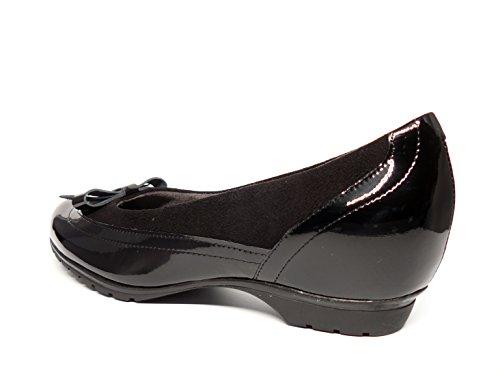 Manoletinas cómodas mujer PITILLOS - Piel Charol combinada con Ante, disponibles en color humo y en color negro - 3411 - 574 negro
