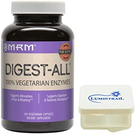 MRM Digest-All Vegetarian Enzymes, Digestive Support Supplement, 100 Vegetarian Capsules Bundle with a Lumintrail Pill Case