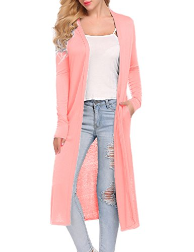 Locryz Womens Long Sleeve Open Front Long Duster Soft Cardigan with Pockets (XL, Pink) - Jeans Women Sweaters Cardigans