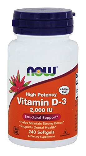 Now Foods, (2 Pack) Vitamin D-3 High Potency, 2,000 IU, 240 Softgels