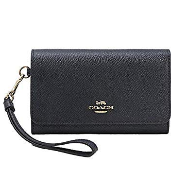 Coach Flap Phone Wallet In Crossgrain Leather (MIDNIGHT/LIGHT GOLD), Medium