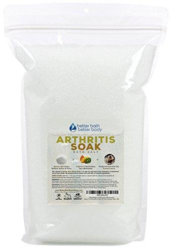 Arthritis Bath Salt 128oz (8-Lbs) Bulk Size Epsom Salt With Frankincense Essential Oils & Vitamin C Crystals - Natural Arthritis Help For Stiff Joints, Aches, Tightness