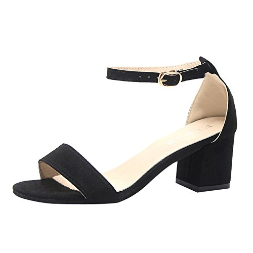 JSPOYOU Women's Strappy Chunky Block Low Heel Pump Sandals with Ankle Strap Formal Wedding Party Simple Classic Pumps Black