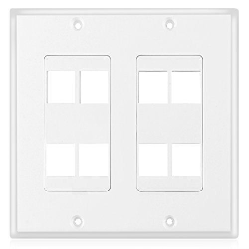 TNP Keystone Wall Plate - Keystone Insert Jack Single Gang Wiring Plug Socket Decorative Face Cover Outlet Mount Panel with Screws White (8 Port)