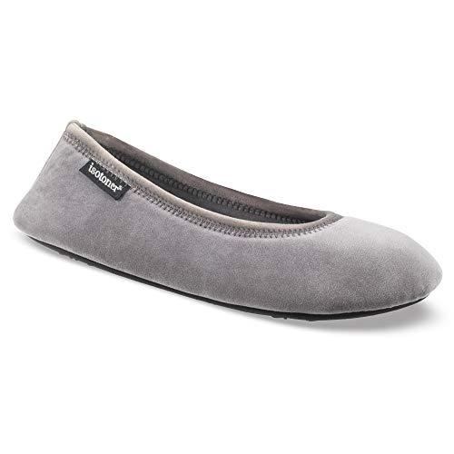 ISOTONER Women's Memory Foam Victoria Ballerina Slipper Stretch Velour Ballet Comfort House Shoe, Mineral, Large / 8-9 US (Ballet Flats Slippers)