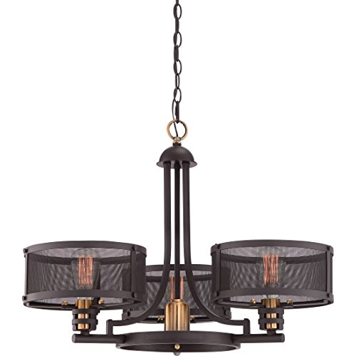 Quoizel UST5003WT Union Station Industrial Vintage Chandelier, 3-Light, 300 Watts, Western Bronze 20 H x 28 W