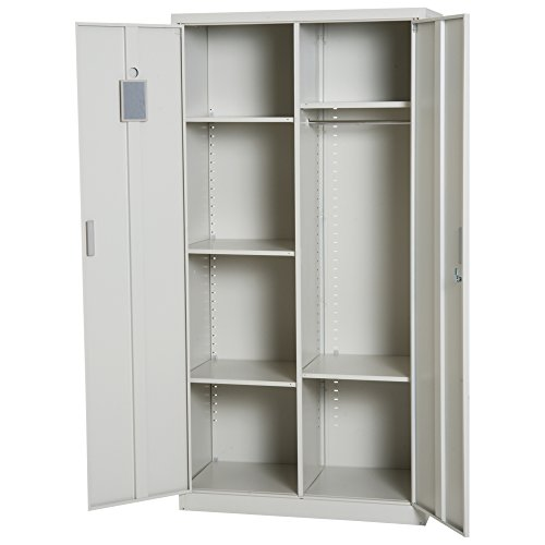 "(HOMCOM 71"" Cold Rolled Steel Lockable Garage Storage Cabinet with Shelves - Cream White)"