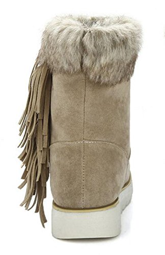 CHFSO Waterproof Stylish Boots Faux Beige Fringe Women's Heel Low On Warm Fur Winter Pull Snow Lined Platform p4qnpgrx