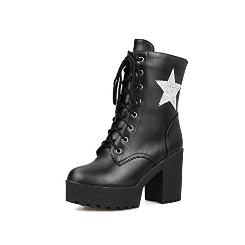 Allhqfashion Women's Low-top Lace-up Soft Material High-Heels Round Closed Toe Boots Black