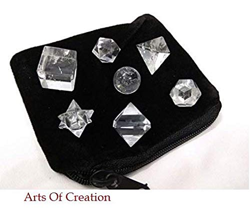 Arts Of Creation Clear Crystal Quartz Geometric Shape Set with Velvet Bag