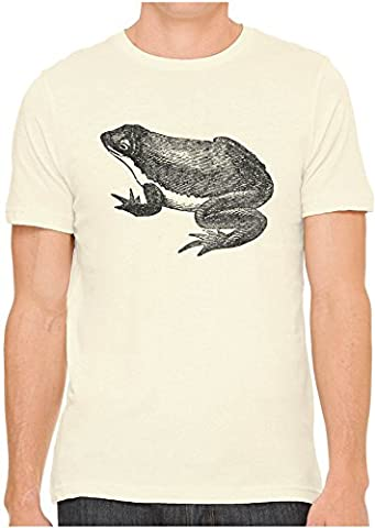 Unisex Mens Texas Pond Toad Amphibian Print Hand Screen Printed Fitted Cotton T-Shirt, Soft Cream, (Ponds Hand Cream)
