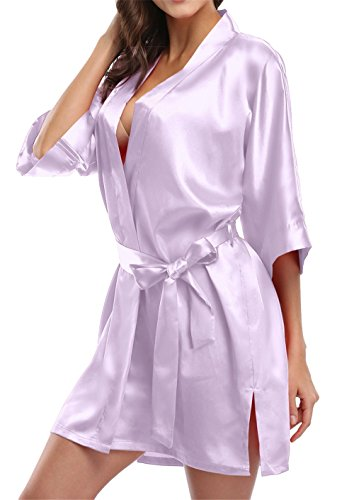 Giova Pure Color Satin Short Silky Bathrobe Sleepwear Nightgown Pajama,Lavender,Large