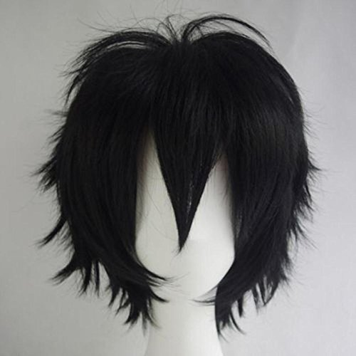 Unisex Women Mens Short Fluffy Straight Black Hair Wigs Anime Cosplay Party Dress Costume Synthetic Wig]()